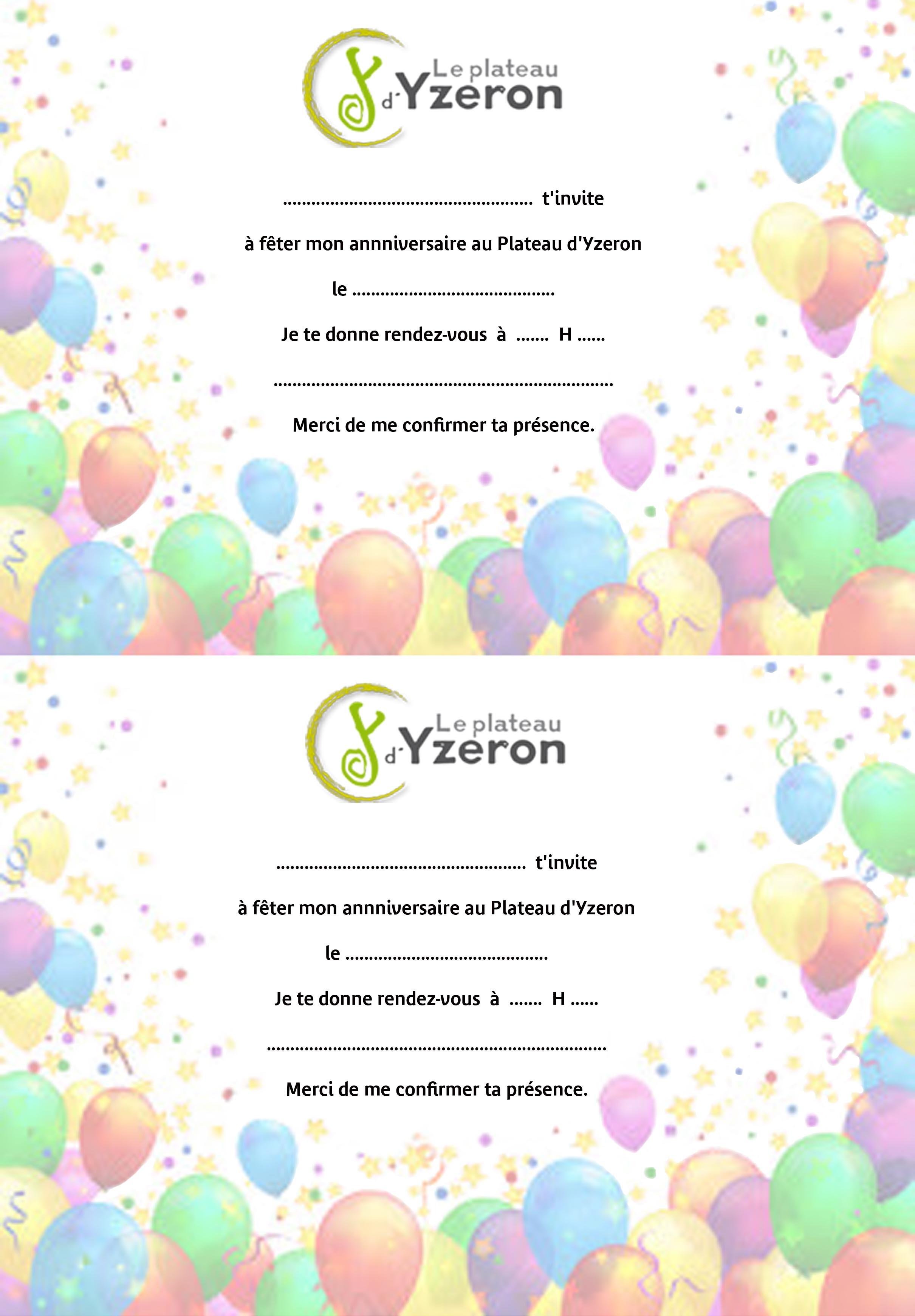 Carte d'invitation pour un anniversaire